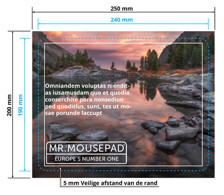 print voorlagen correct aanleggen 240x190 mm standaard mousepad